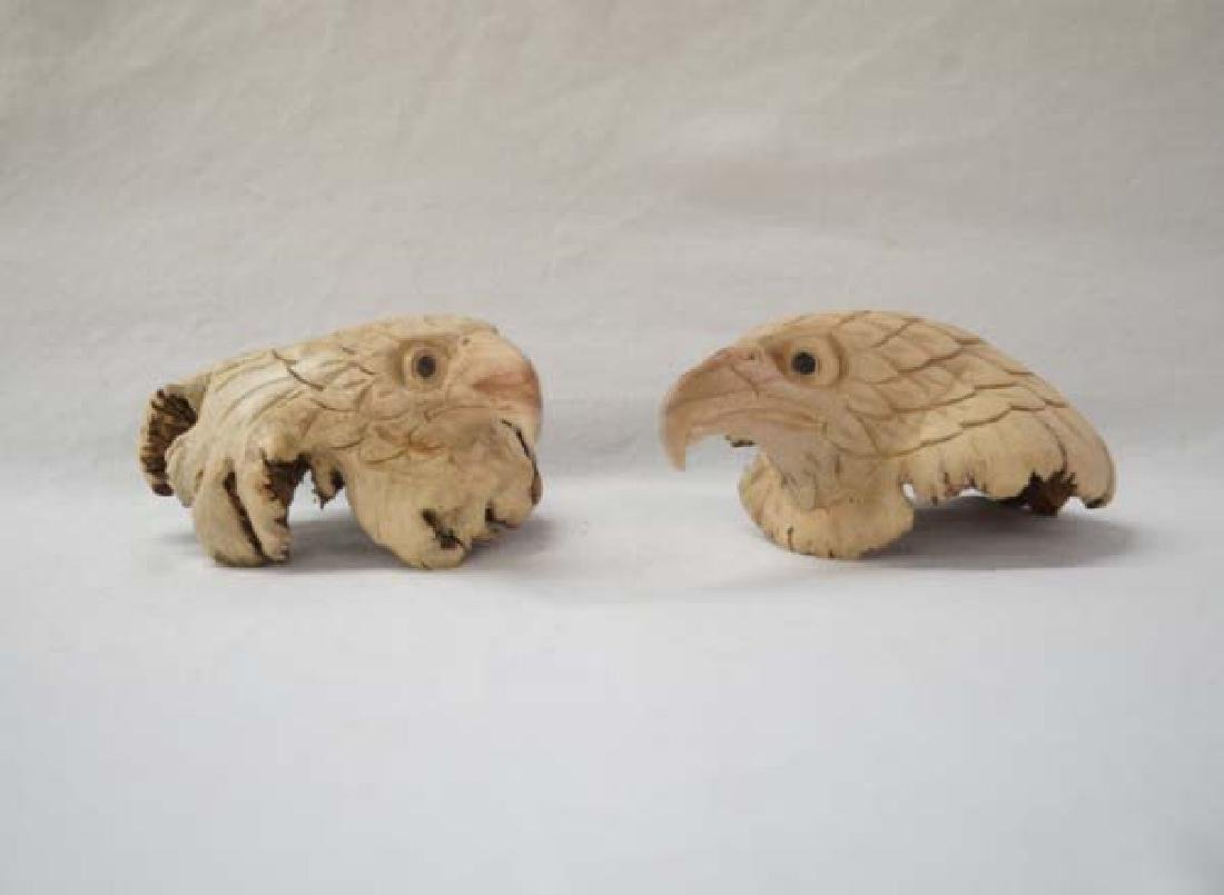 Carved Eagle Heads 5in SH $15