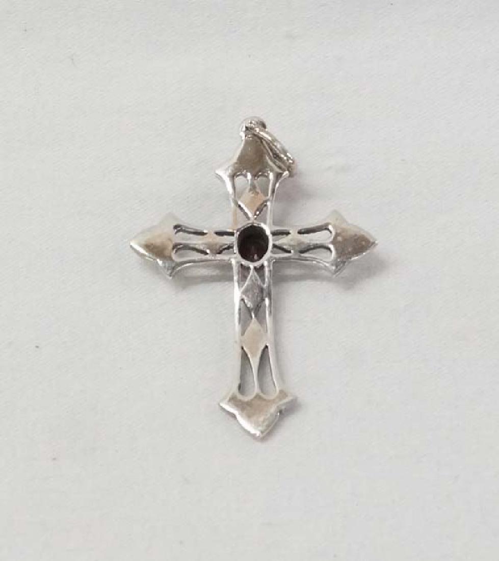 Garnet Silver Cross 2in SH10