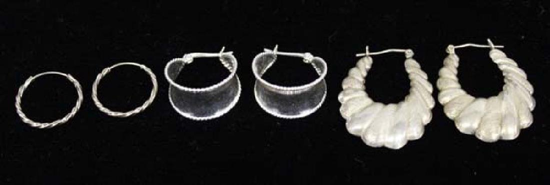 3 Pair Sterling Silver Fashion Earrings