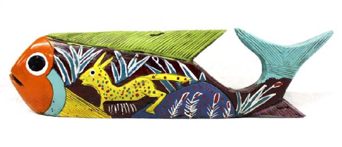 Mexican Hand Carved and Painted Wood Fish