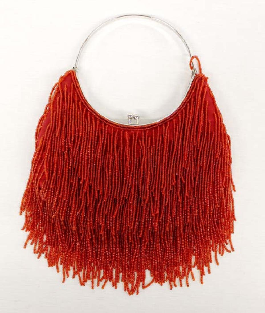 Vintage Diana K Red Beaded Flapper Purse