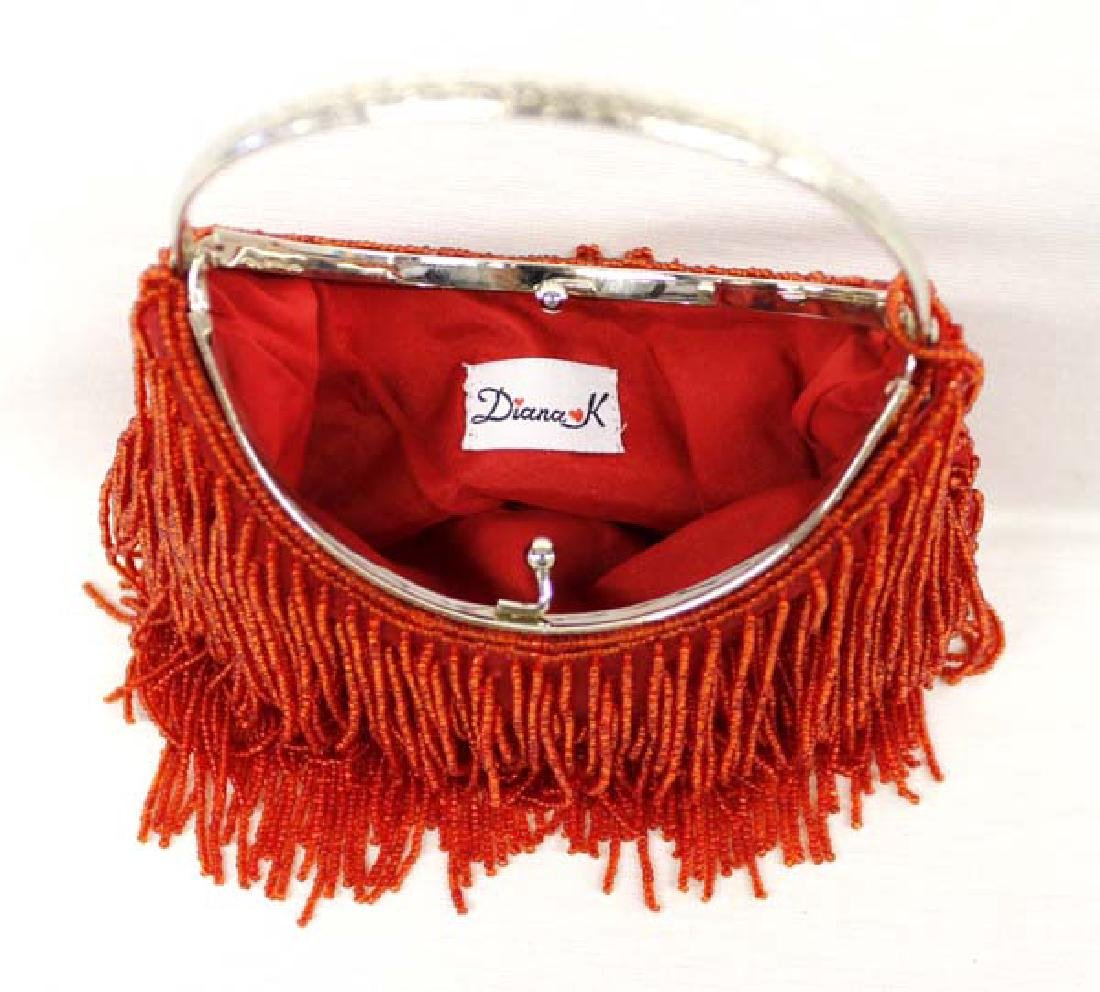 Vintage Diana K Red Beaded Flapper Purse - 2