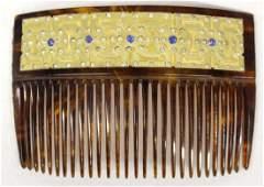 Antique 22K Gold Hair Comb with Rhinestones
