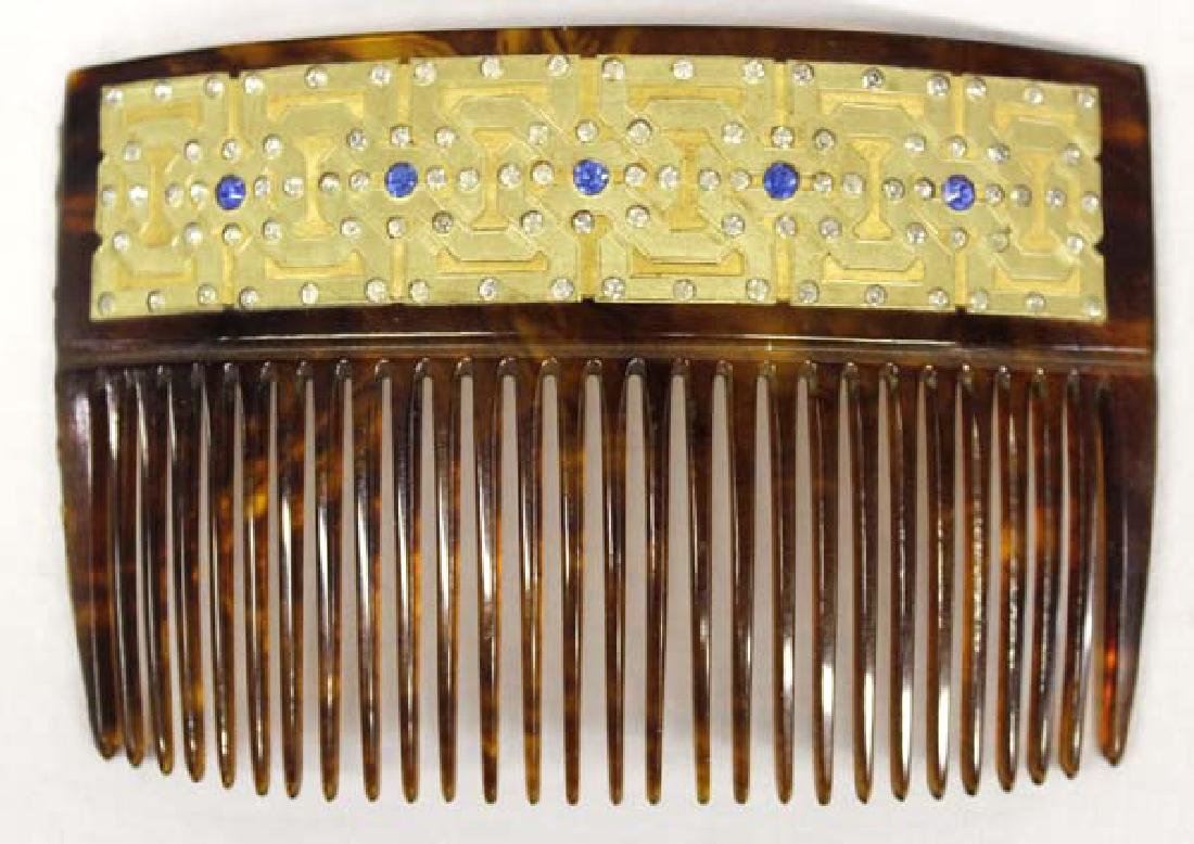 Antique 22K Gold Hair Comb with Rhinestones