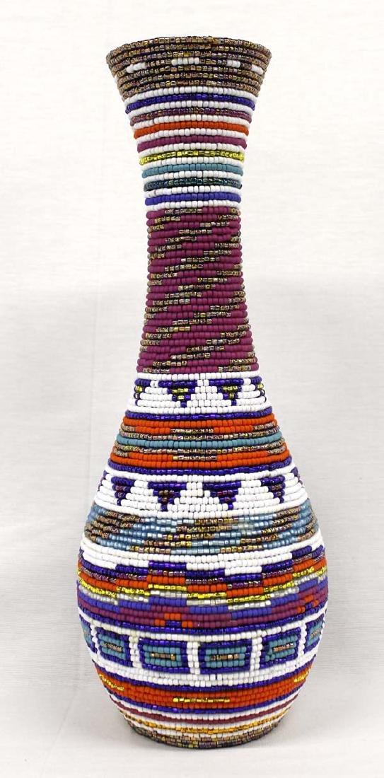 Hand Beaded Vase by Kathy Kills Thunder