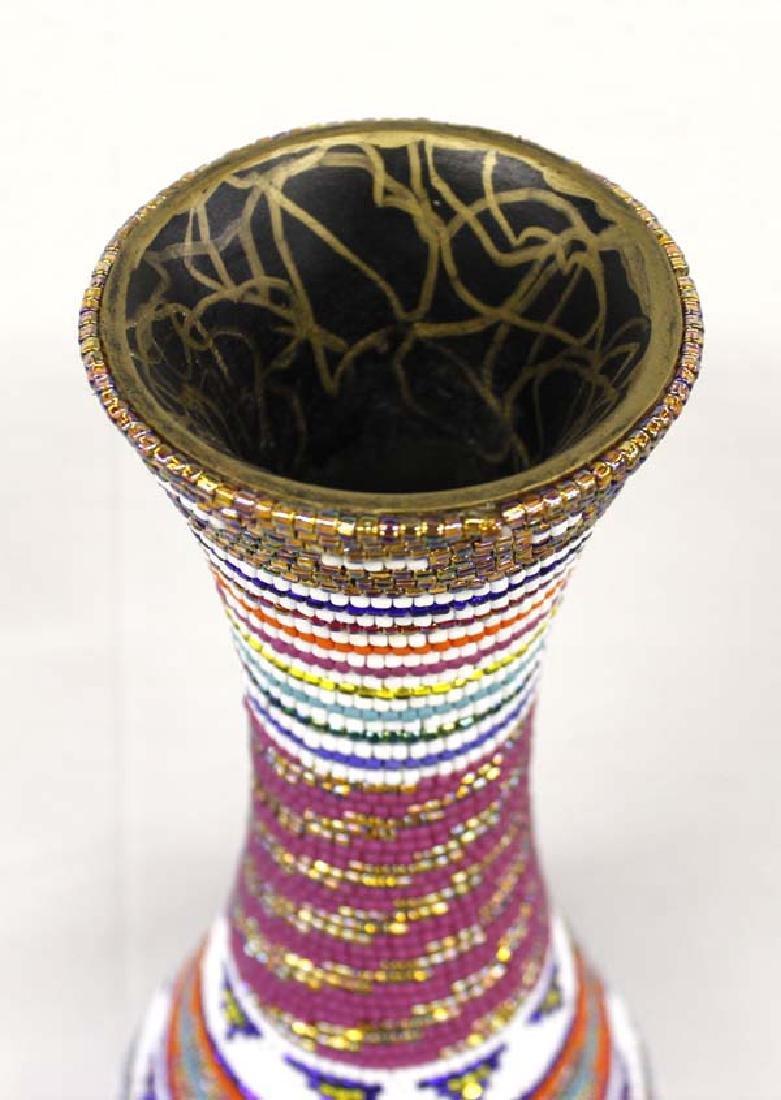 Hand Beaded Vase by Kathy Kills Thunder - 2