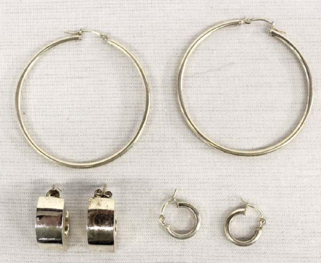 3 Pairs Sterling Silver Earrings