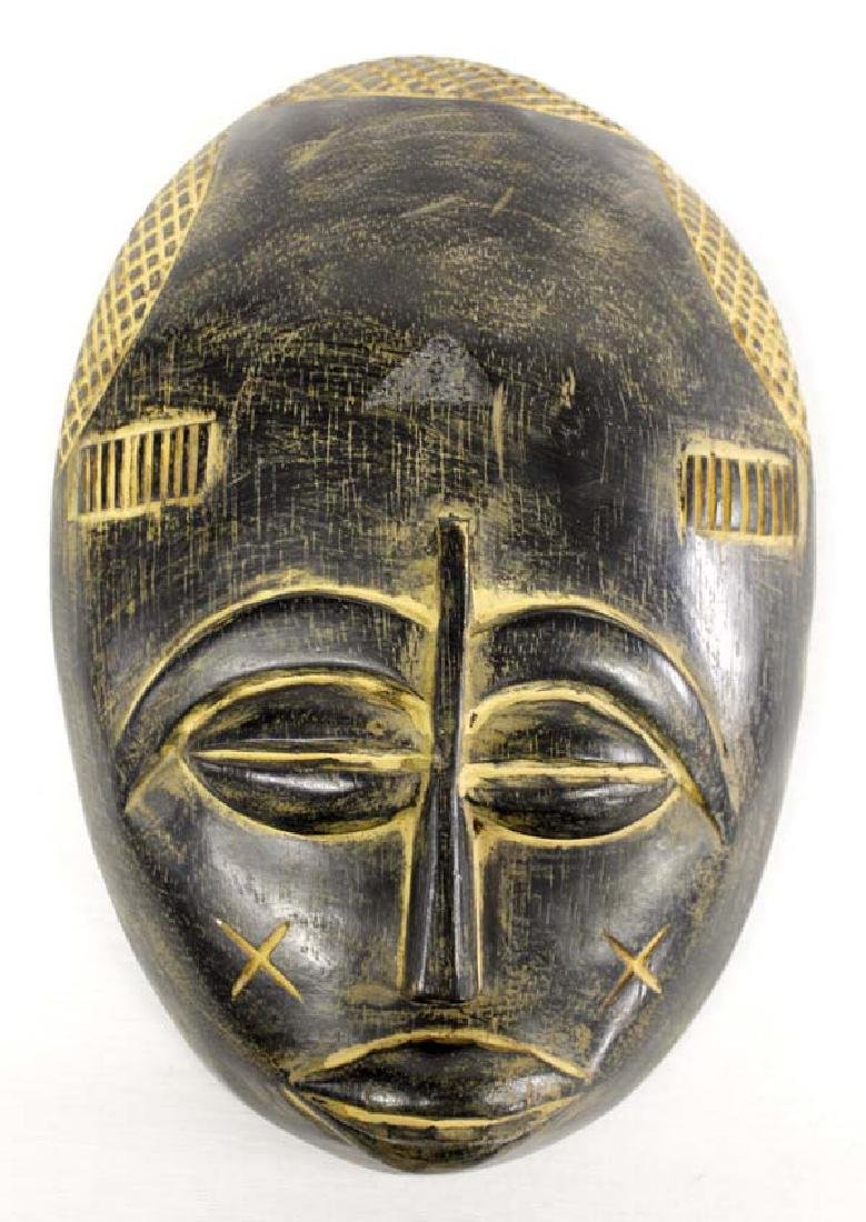 African Hand Carved Wood Mask from Ghana