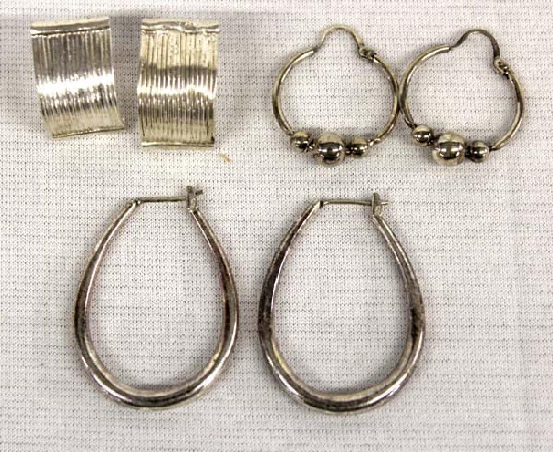 3 Pair Sterling Silver Earrings