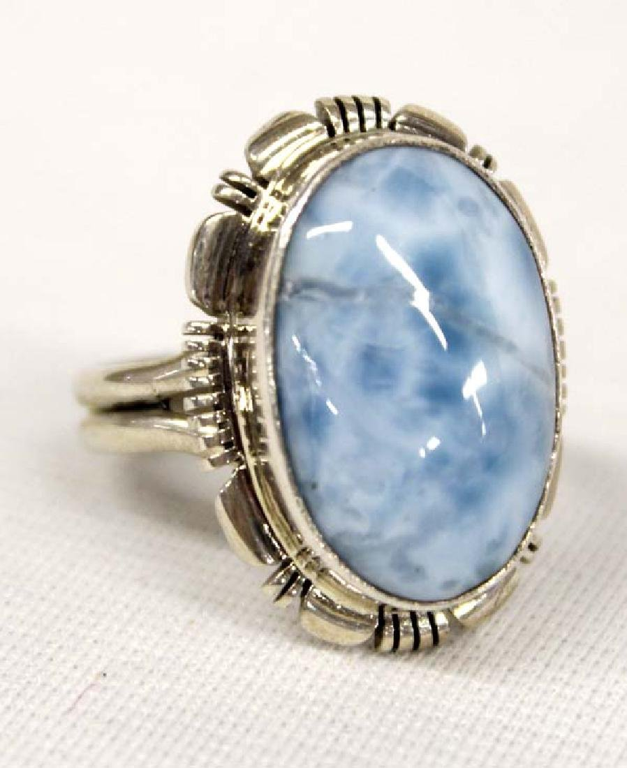 Native American Navajo Sterling Larimar Ring
