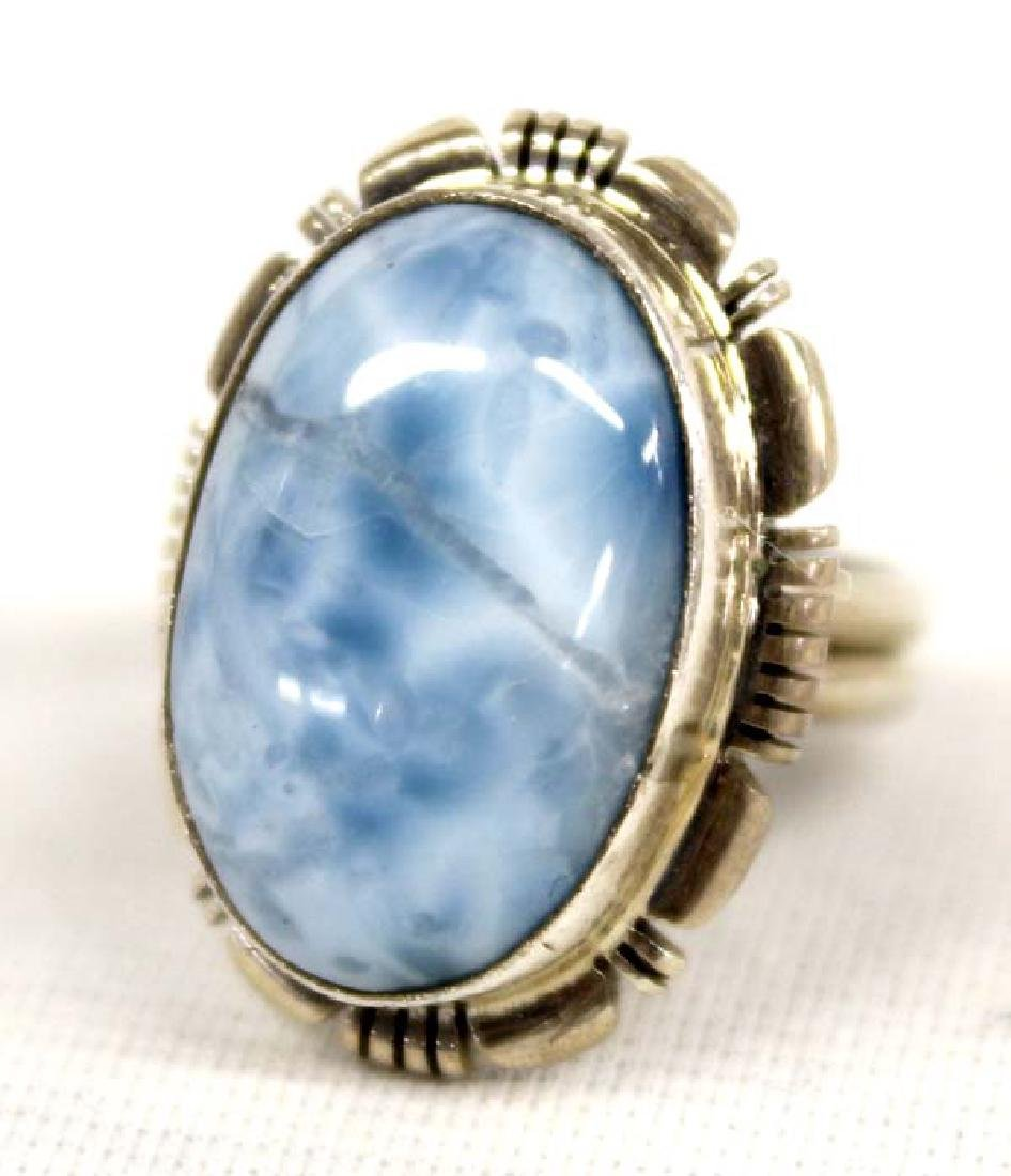 Native American Navajo Sterling Larimar Ring - 2