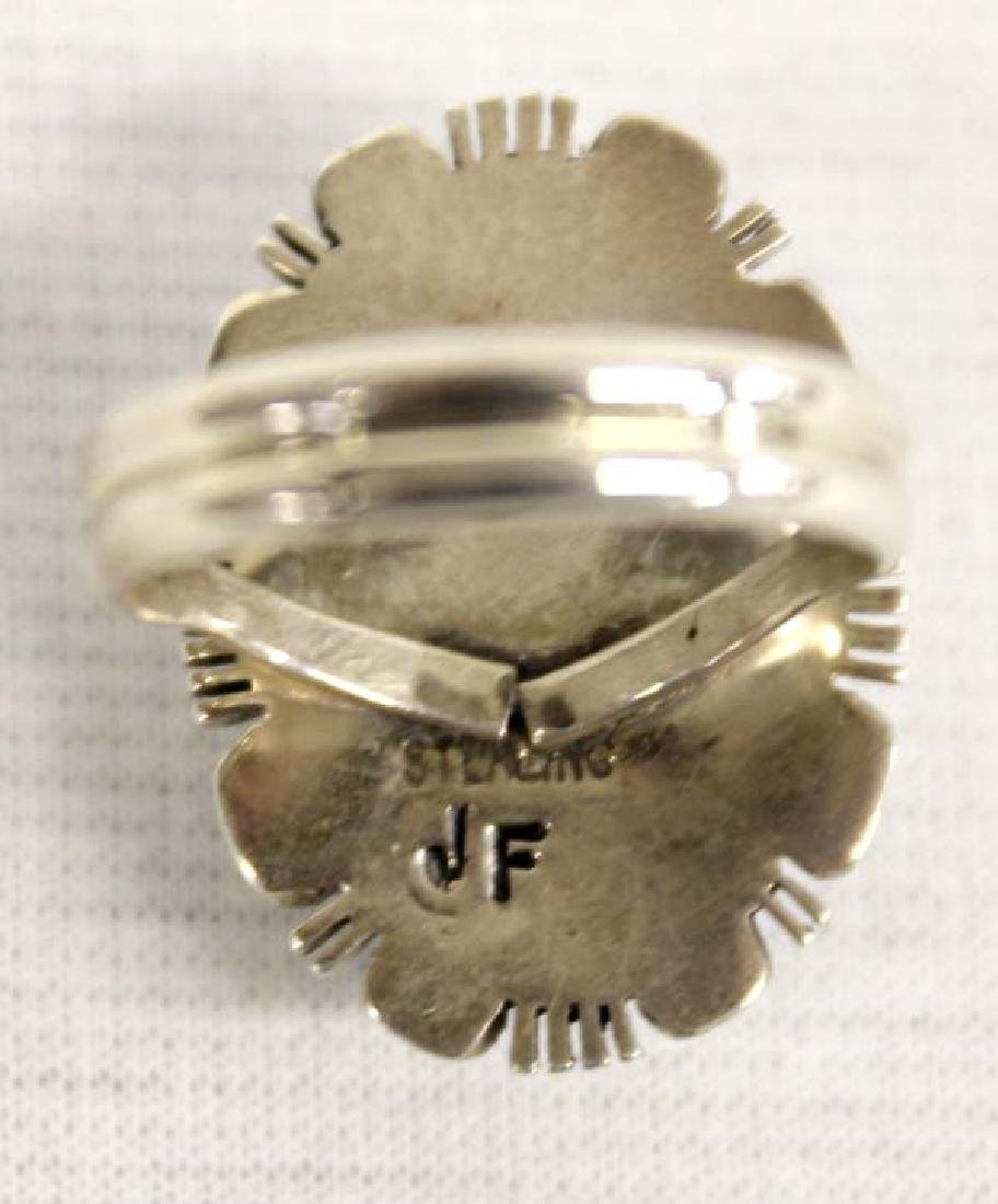 Native American Navajo Sterling Larimar Ring - 3