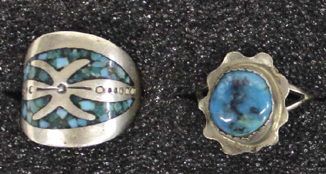 5 Native American Sterling Silver Rings - 2