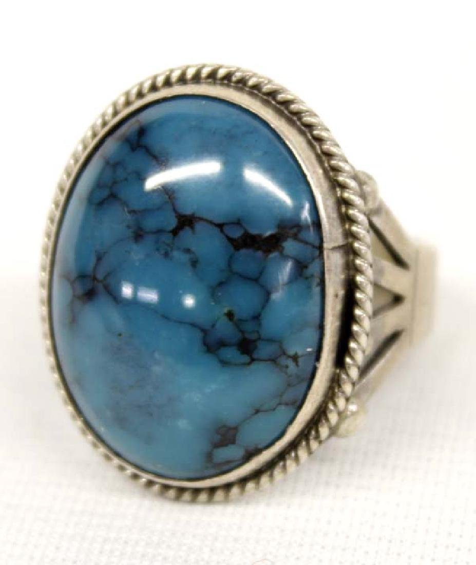Native American Navajo Sterling Turquoise Ring - 2