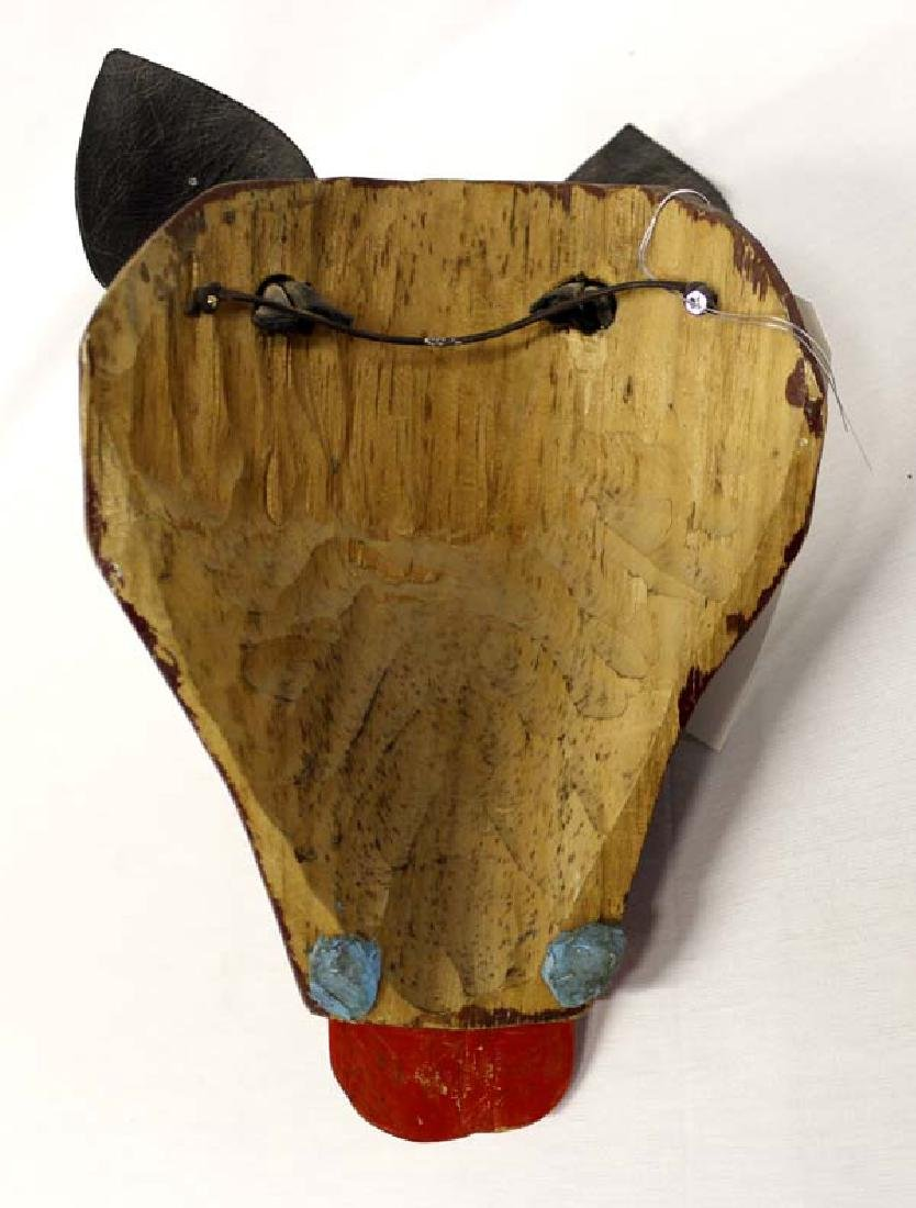 Hand Carved & Painted Wooden Mask - 3