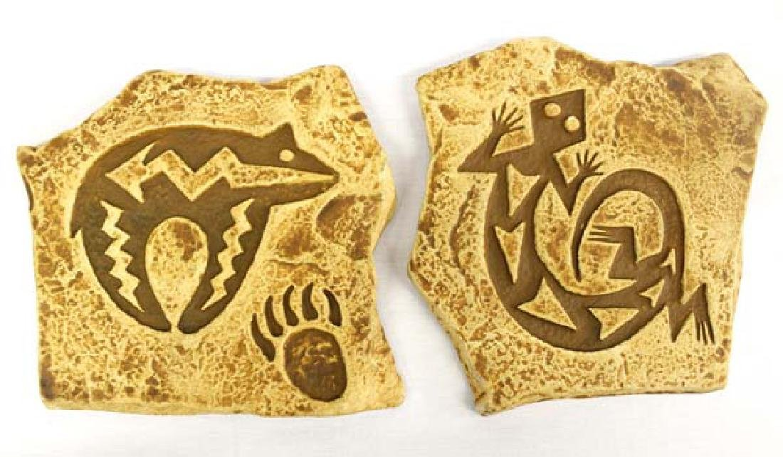 2  Lizard and Bear Pictograph Sandstone  Plaques