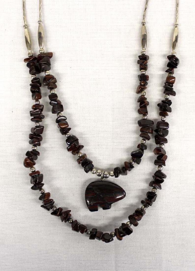 Native American Sterling Tiger's Eye Bear Necklace