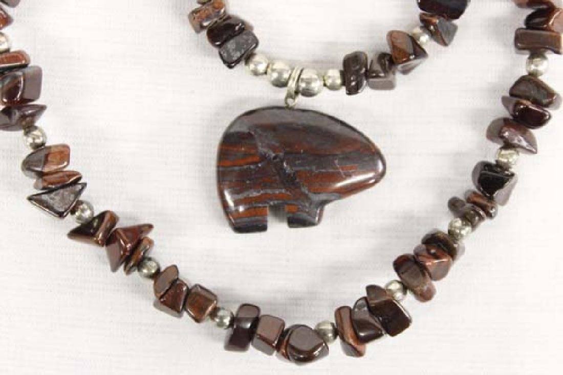 Native American Sterling Tiger's Eye Bear Necklace - 2