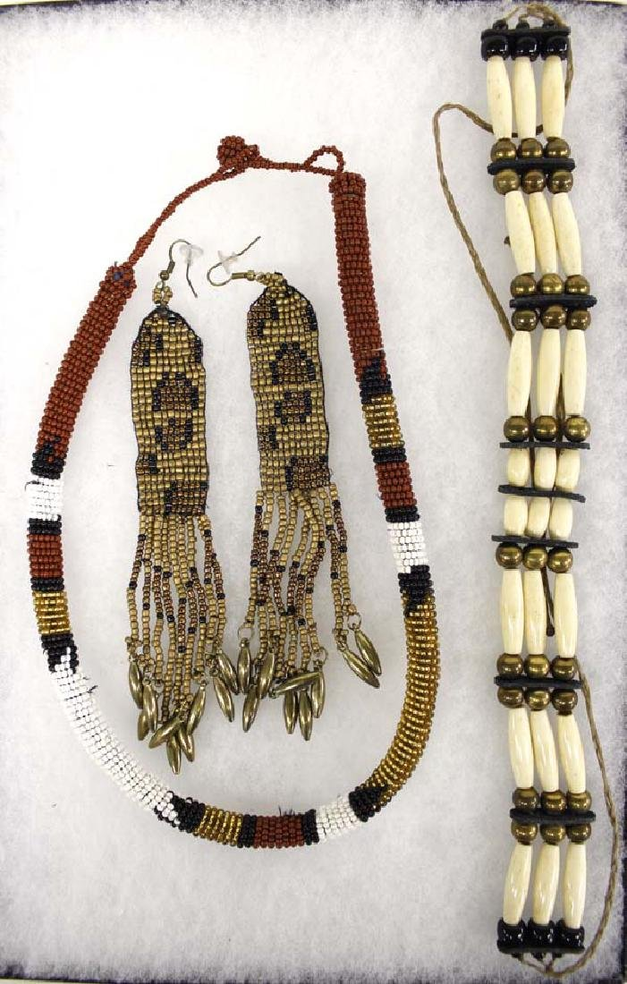 Native American Choker, Earrings & Seedbead Necklace