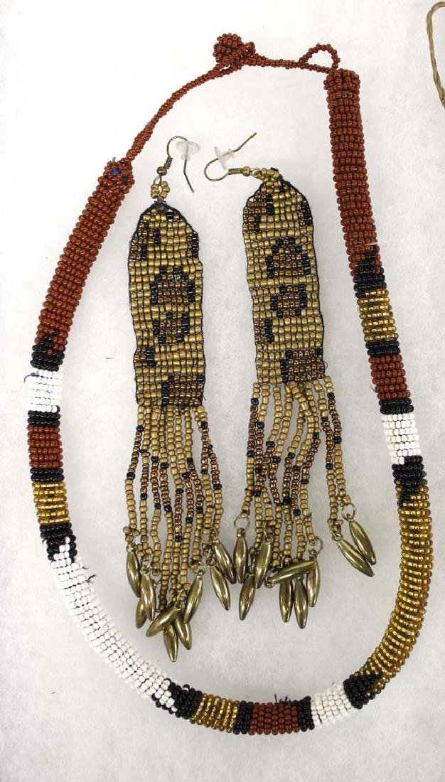 Native American Choker, Earrings & Seedbead Necklace - 2