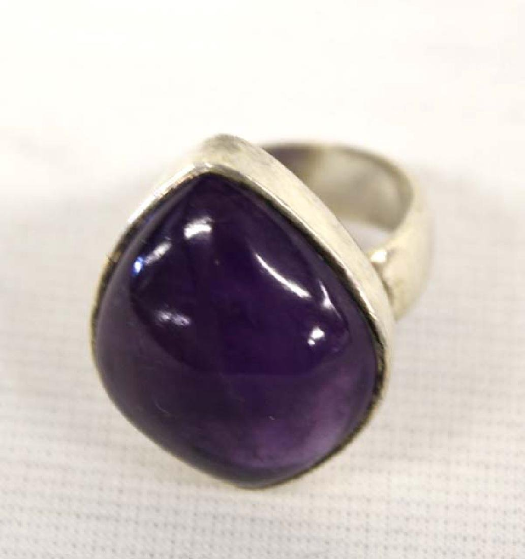 Large Amethyst & Sterling Silver Ring