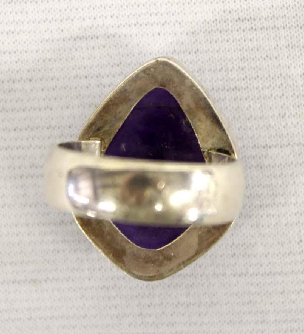 Large Amethyst & Sterling Silver Ring - 2