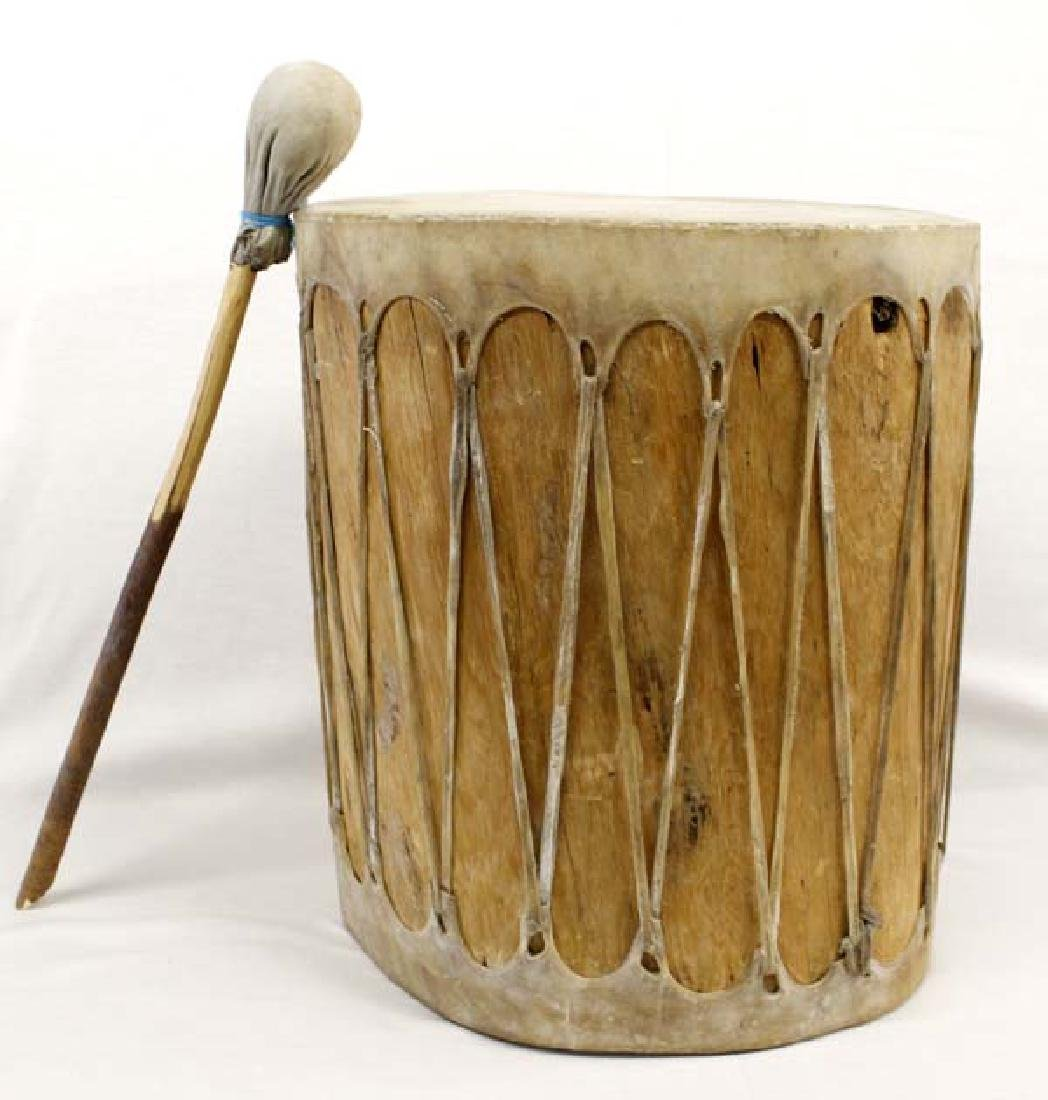 Large Native American Taos Drum with Beater
