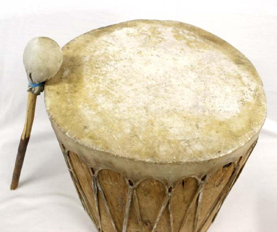 Large Native American Taos Drum with Beater - 2