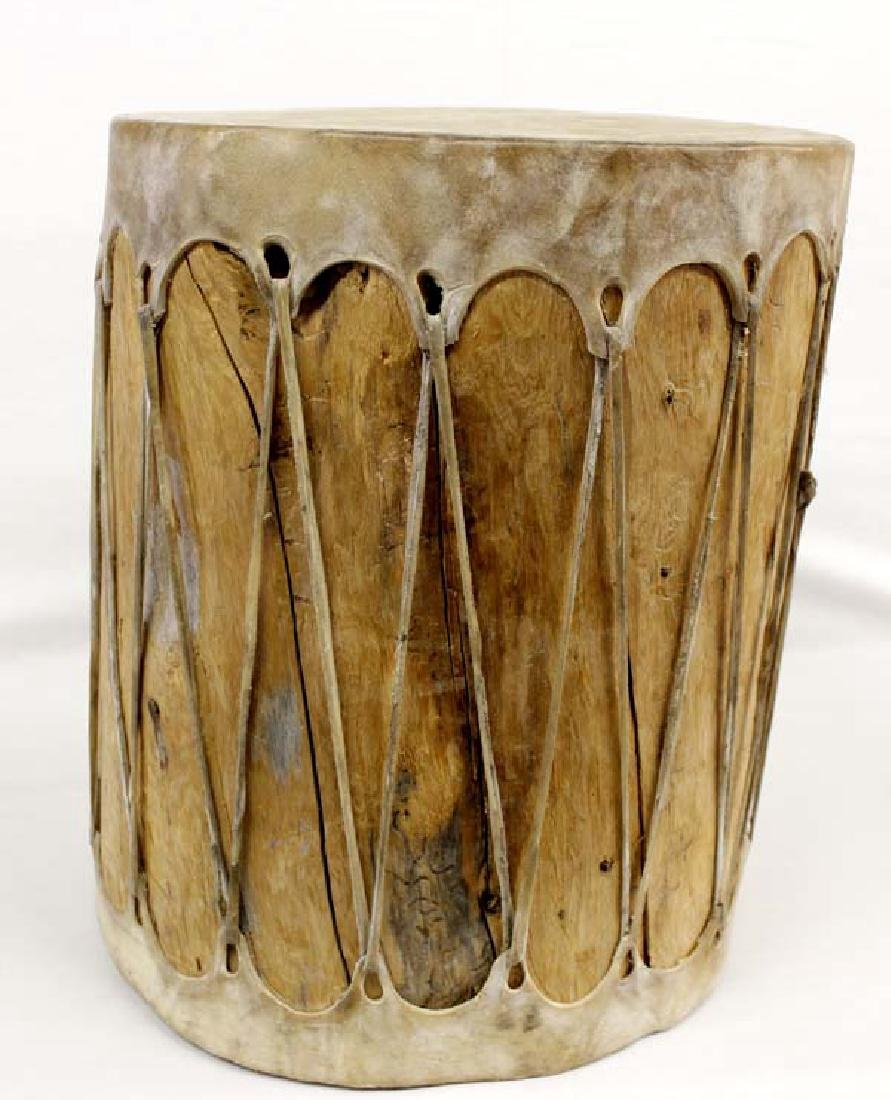 Large Native American Taos Drum with Beater - 3
