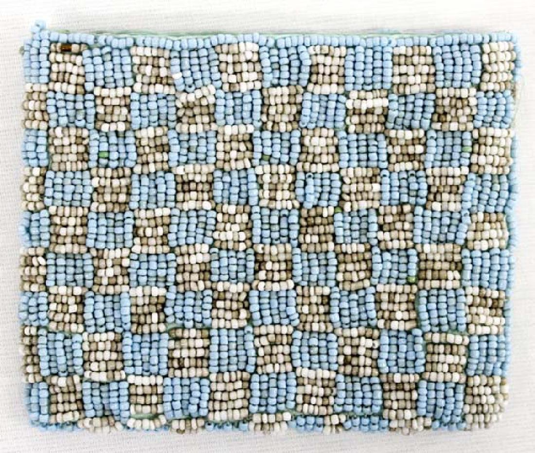 Fully Beaded Checkerboard Lazy Stitch Purse