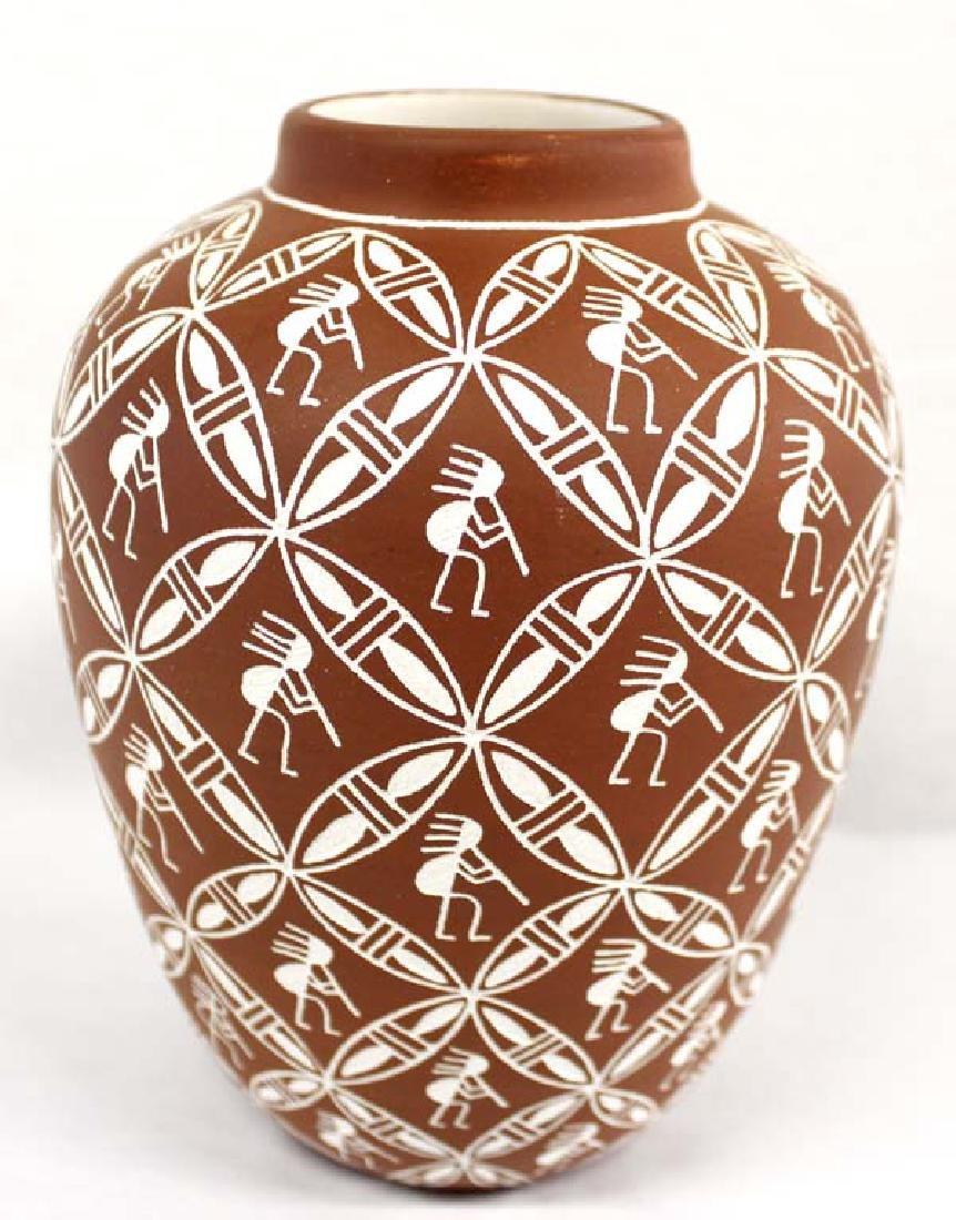 Acoma Sgraffito Kokopelli Pottery Jar by Chino