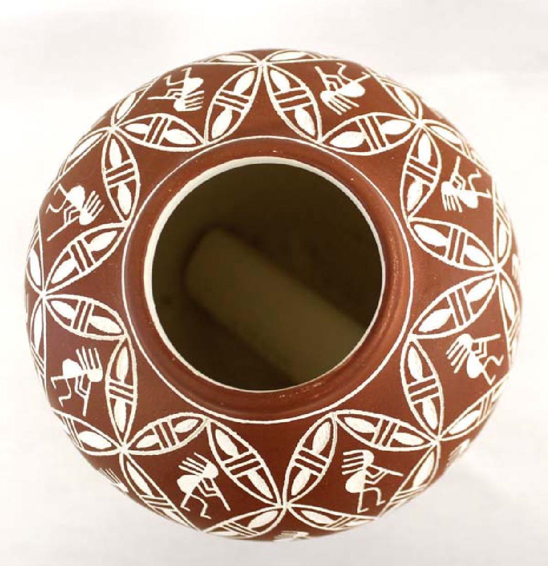 Acoma Sgraffito Kokopelli Pottery Jar by Chino - 2