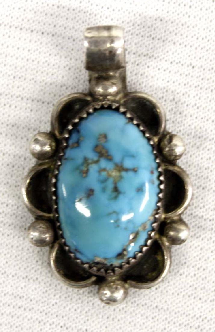 Native American Navajo Sterling Turquoise Pendant