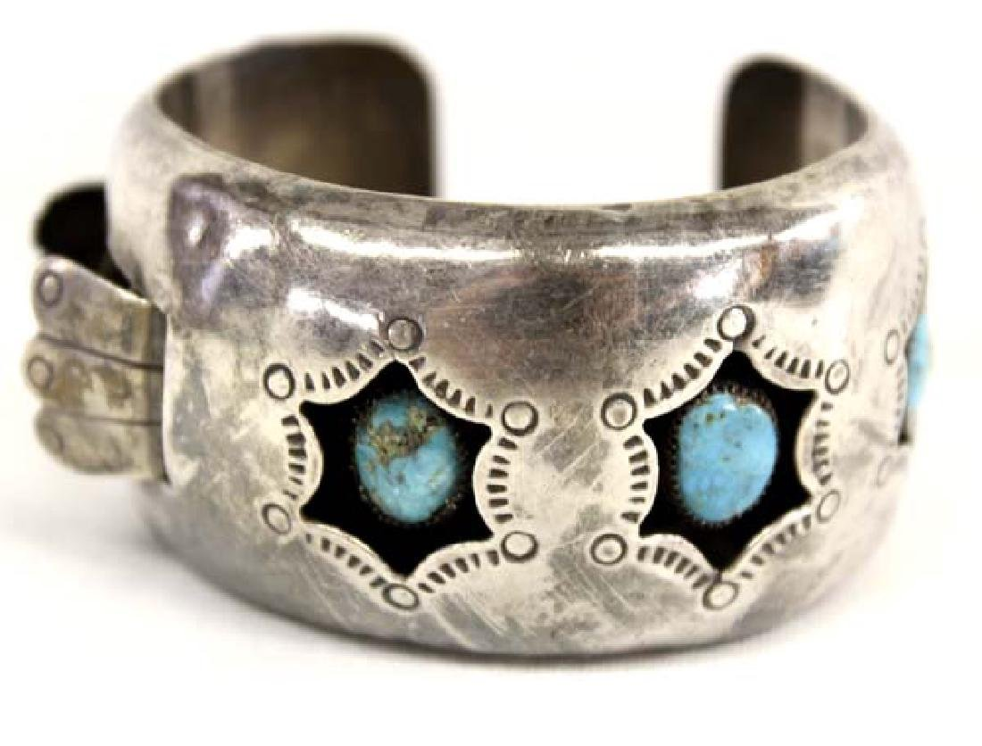 Navajo Old Pawn Sterling Turquoise Watch Bracelet