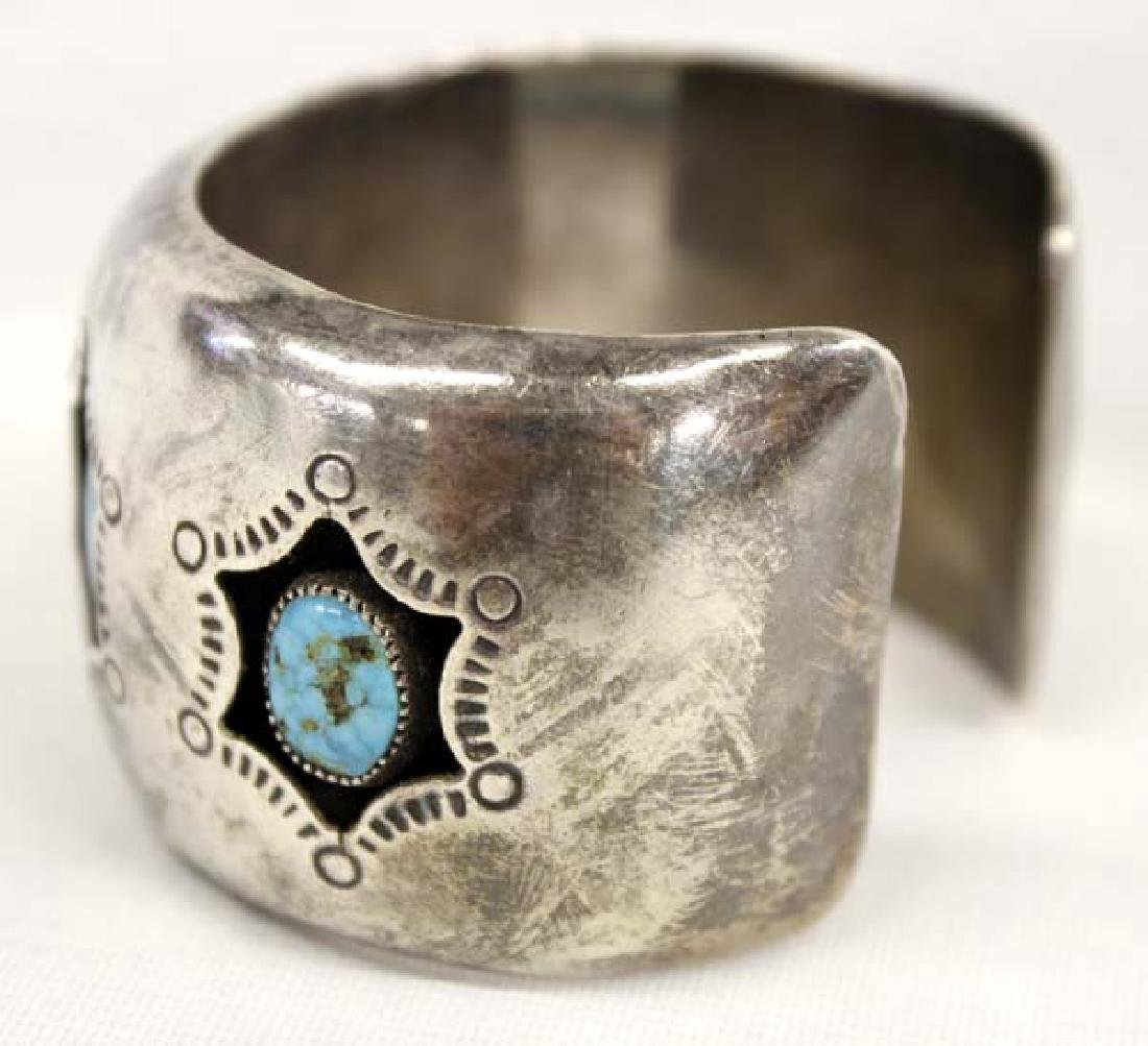 Navajo Old Pawn Sterling Turquoise Watch Bracelet - 2
