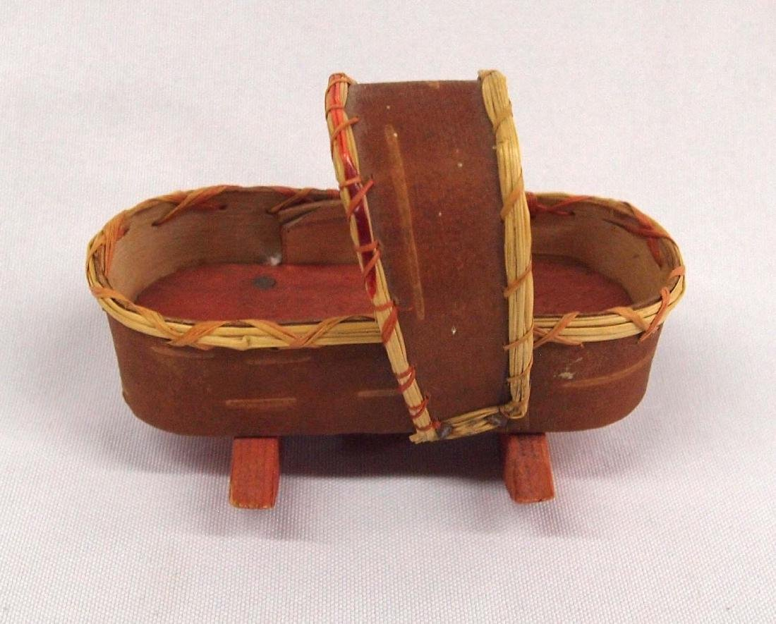 Native American Canadian Birch Bark Miniature Cradle