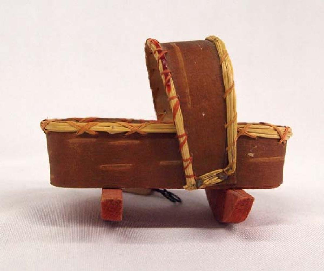Native American Canadian Birch Bark Miniature Cradle - 2