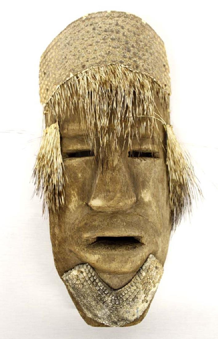 Unusual Mexican Carved Wood Porcupine Quill Mask