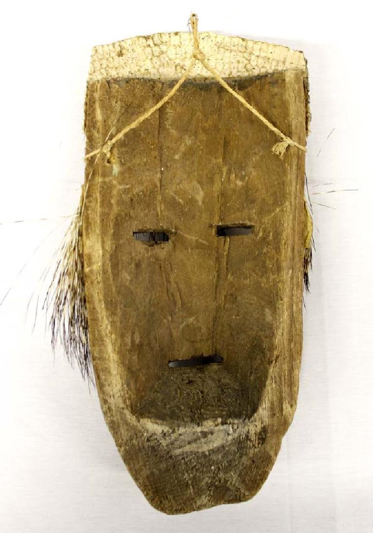 Unusual Mexican Carved Wood Porcupine Quill Mask - 2