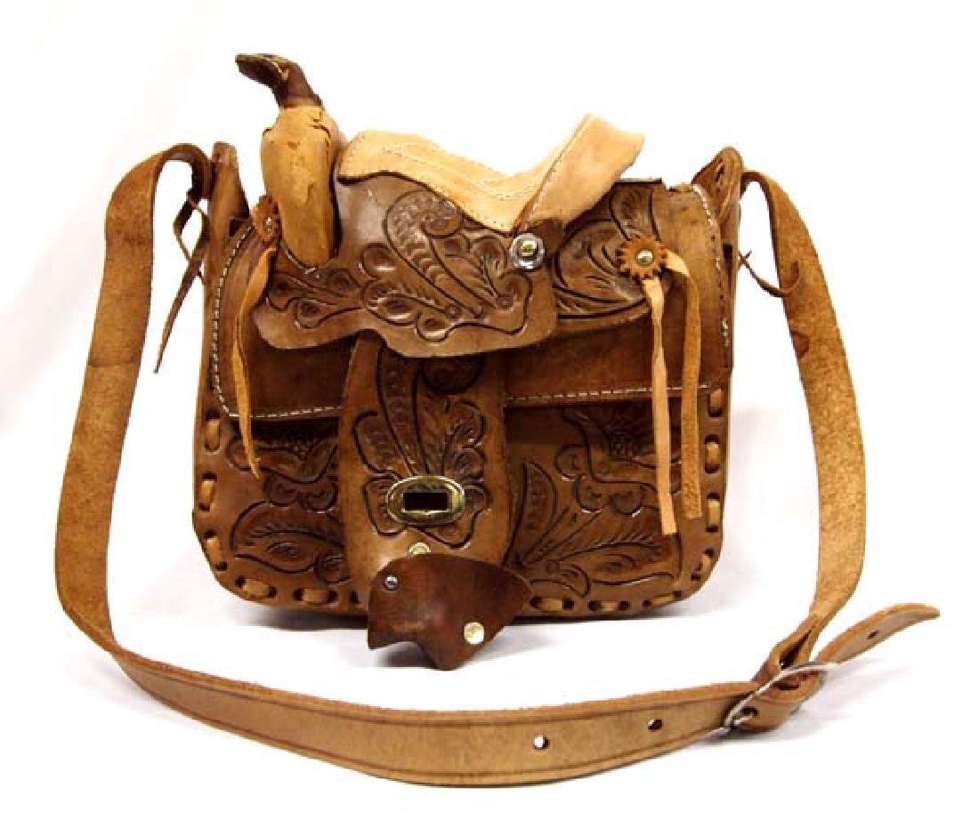 Hand Tooled Leather Western Saddle Purse