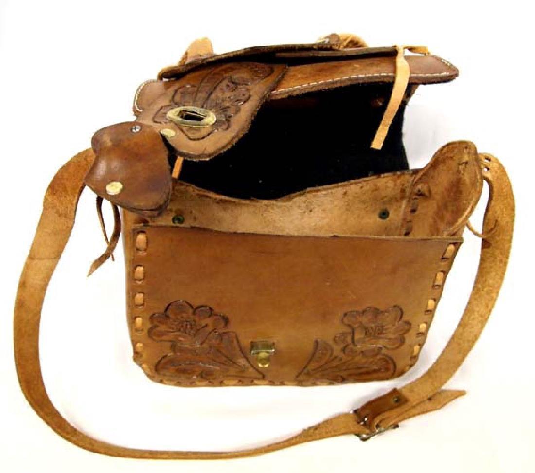 Hand Tooled Leather Western Saddle Purse - 3
