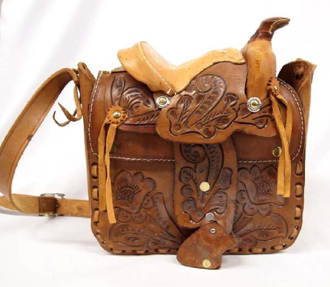 Hand Tooled Leather Western Saddle Purse - 4