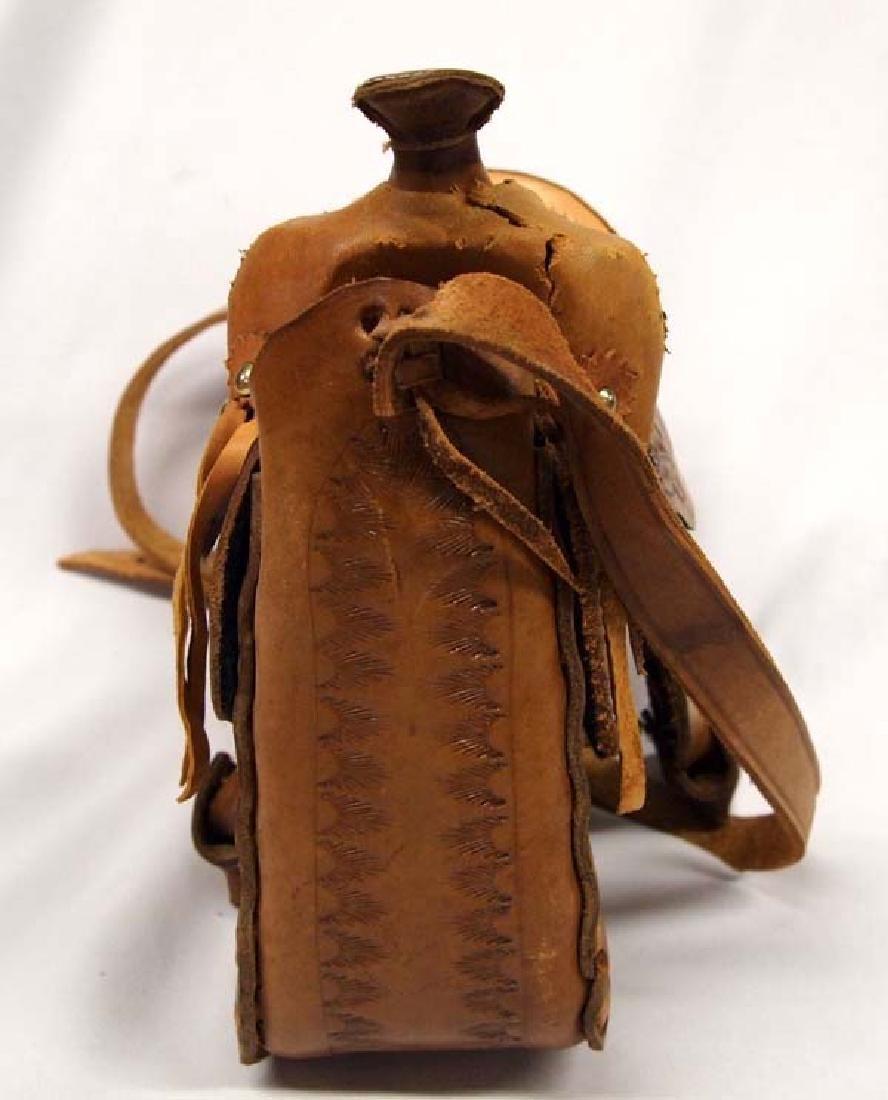 Hand Tooled Leather Western Saddle Purse - 5