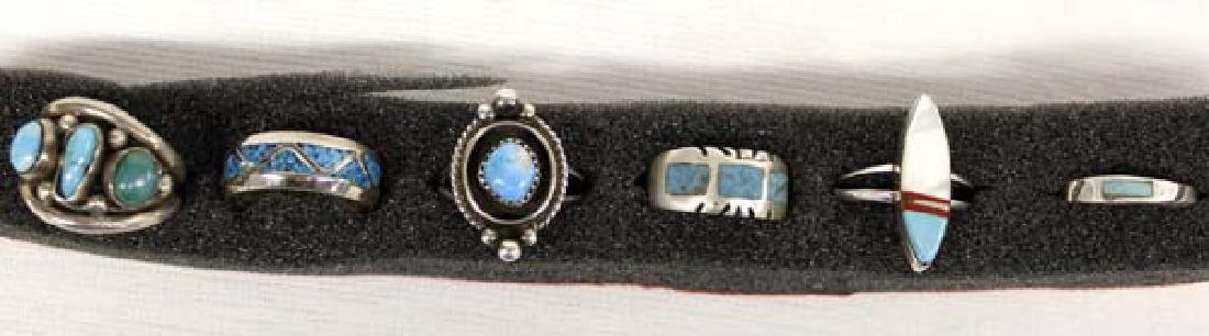 6 Native American Sterling Turquoise Rings