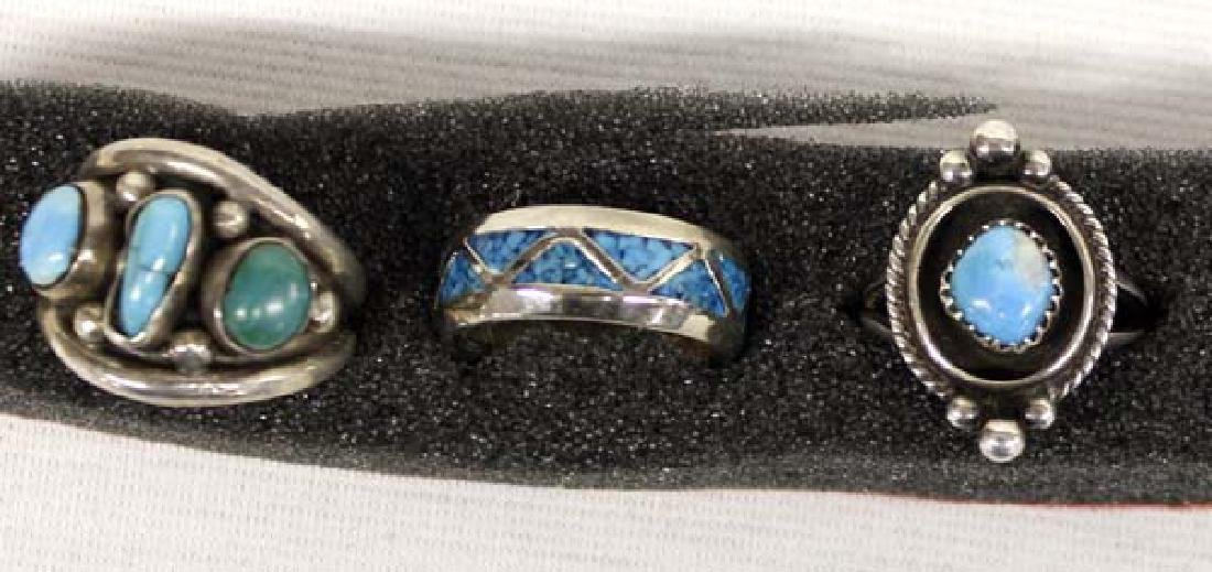 6 Native American Sterling Turquoise Rings - 2