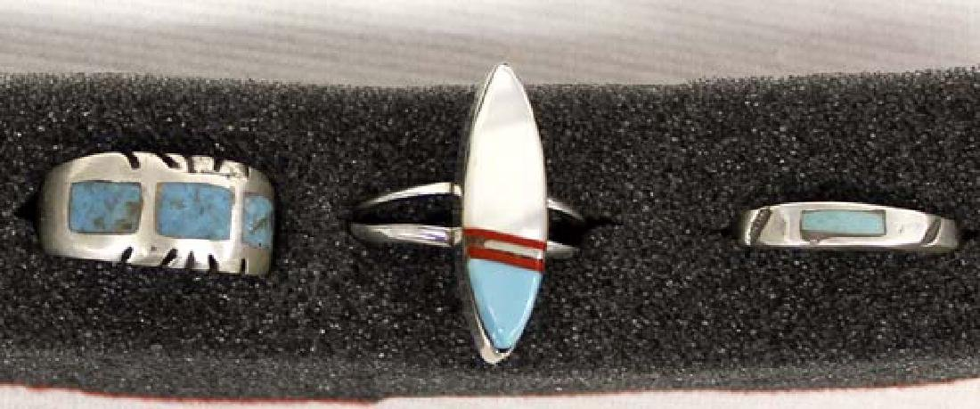 6 Native American Sterling Turquoise Rings - 3
