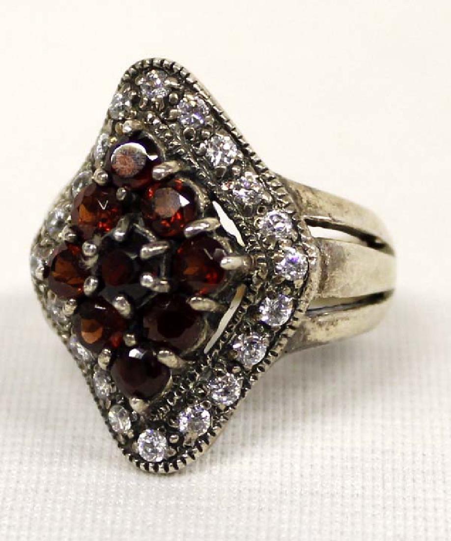 Sterling Silver Rhinestone Garnet Ring, Size 9
