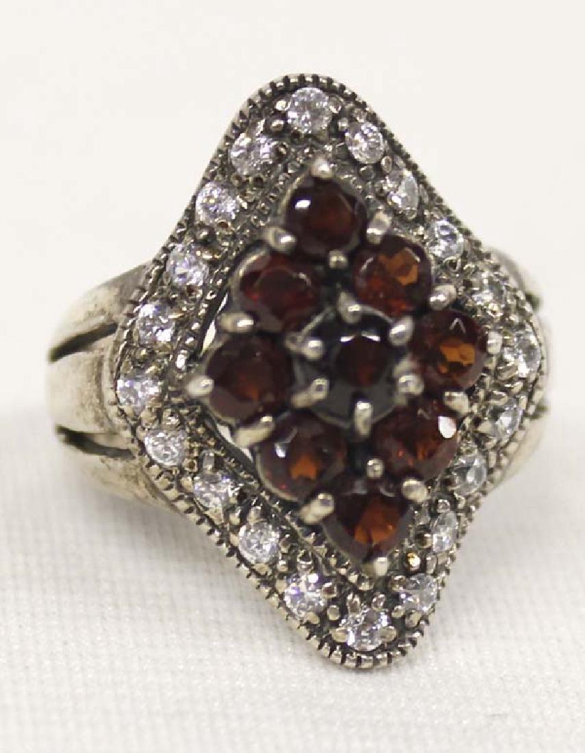Sterling Silver Rhinestone Garnet Ring, Size 9 - 2