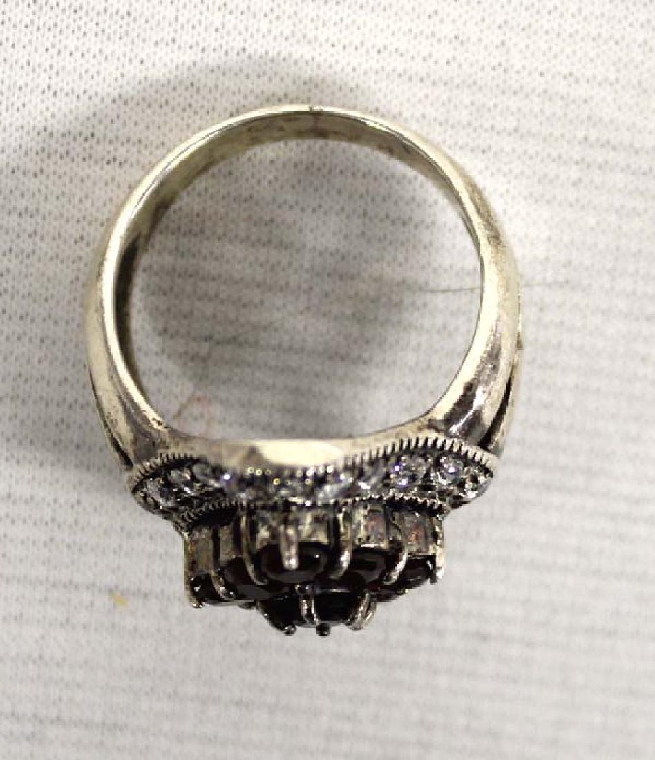 Sterling Silver Rhinestone Garnet Ring, Size 9 - 3