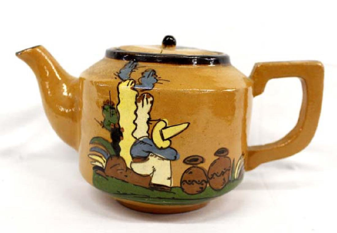 Vintage Mexican Glazed Clay Teapot